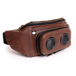 Outdoor Running Leather Fanny Packs Waist Packs With Speaker