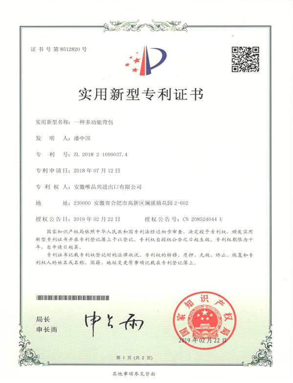 Backpack Patent Certificate