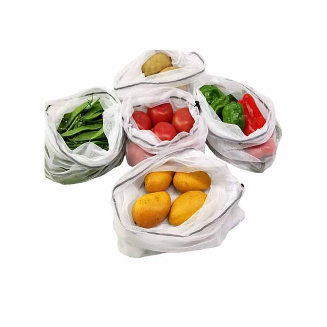 Good Review Reusable 5pcs Set Drawstring Bags With RPET Material For Shopping