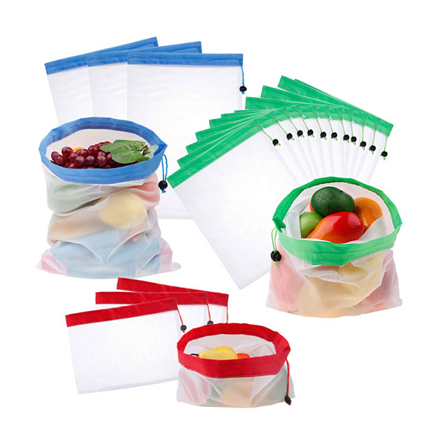 Food Grade 100% RPET Mesh Produce Grocery Shopping Bags For Fruit And Vegetable