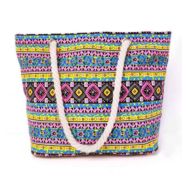 Custom Printed Large Beach Tote Bags With Cotton Canvas Material