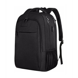 Business Canvas Backpack Travel Bag With Laptop Compartment and USB Charging Port