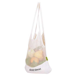 Organic Cotton Mesh Produce Storage Shopping Bag For Vegetable & Fruit Single or 2pcs Set